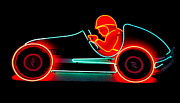 Electric Signs Posters - Neon Racer Poster by Randall Weidner