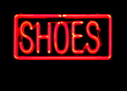 Electric Signs Posters - Neon Shoes Poster by Randall Weidner