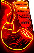 Electric Signs Posters - Neon Smokes Poster by Randall Weidner