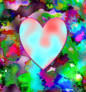 Abstract Hearts Digital Art - Neon Valentine by Jamie Frier