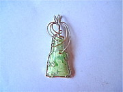 Sterling Silver Jewelry - Neon Variscite Natural Stone Pendant by Holly Chapman