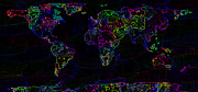 Designer World Map Prints - Neon World Map Print by Zaira Dzhaubaeva