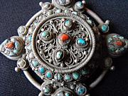 Silver Turquoise Jewelry Originals - Nepali-Tibetan silver pendant with a central covered container by Anonymous artist
