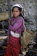 Solo Girl Prints - Nepali Village Girl - Everest Trek Print by Craig Lovell