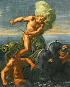 Neptune Digital Art Prints - Neptune and his Chariot of Horses Print by Domenico Antonio Vaccaro