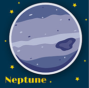 Outer Space Digital Art Metal Prints - Neptune Metal Print by Christy Beckwith
