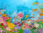 Fish Underwater Paintings - Neptune Kingdom by Loreta Mickiene
