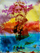 Neptune Mixed Media Prints - Neptune Over the Lagoon Print by Michael Knight