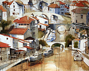 Realistic Landscape Paintings - Nerac France by Shirley  Peters