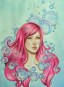 Floating Girl Drawings Prints - Nereid Print by Lucy Stephens