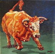 Bull Paintings - Nero by Patricia A Griffin