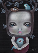 Pop Surrealism Paintings - Nesting by  Abril Andrade Griffith