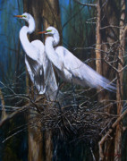 Egrets Paintings - Nesting Snowy Egrets by Rob Dreyer AFC