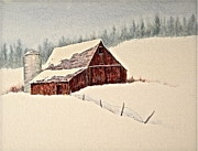 Barn And Silo Prints - Nestled in White Print by Carolyn Rosenberger