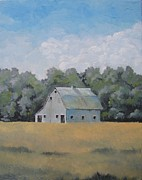 Old Barn Paintings - Nestled Old Barn by Gwen Thelen