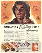 World War 2 Drawings Prints - NestleÕs 1940s Usa Propaganda Chocolate Print by The Advertising Archives