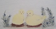 Eggs Pastels Posters - Nestling Chicks Poster by Christine Corretti