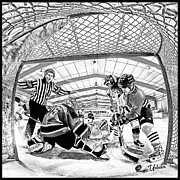 Minor Hockey Digital Art - Net View by Elizabeth Urlacher