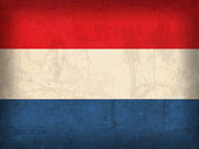 Dutch Framed Prints - Netherlands Flag Vintage Distressed Finish Framed Print by Design Turnpike