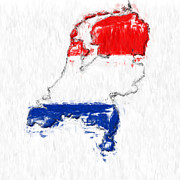 Abstract Map Posters - Netherlands Painted Flag Map Poster by Antony McAulay