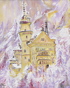 Stucco Mixed Media Posters - Neuschwanstein Castle  Poster by Helena Bebirian
