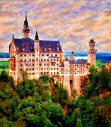 King Ludwig Posters - Neuschwanstein Castle Poster by Michael Pickett