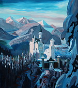 Neuschwanstein Castle Paintings - Neuschwanstein in Winter by M Bleichner