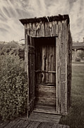 Sheds Photos - Nevada City Ghost Town Outhouse - Montana by Daniel Hagerman