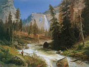 Falls Paintings - Nevada Fall Yosemite by Herman Herzog