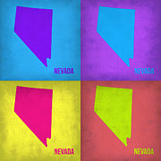 World Map Digital Art Metal Prints - Nevada Pop Art Map 1 Metal Print by Irina  March