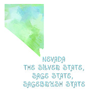 Phrase Framed Prints - Nevada - The Silver State - Sage State - Sagebrush State - Map - State Phrase - Geology Framed Print by Andee Photography