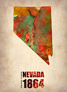 Us State Map Prints - Nevada Watercolor Map Print by Irina  March