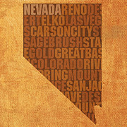 Nevada Framed Prints - Nevada Word Art State Map on Canvas Framed Print by Design Turnpike