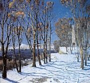 Winter Trees Mixed Media Metal Prints - Nevelskoi Square Vladivostok Russia Metal Print by Jake Hartz