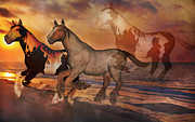 Wild Horse Mixed Media Metal Prints - Never Alone Metal Print by Betsy A Cutler East Coast Barrier Islands