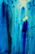 Blue Abstract Art Art - Never Alone by Sharon Cummings