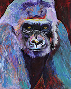 Wildlife Art Acrylic Prints Prints - Never Date A Gorilla With A Nice Smile Print by Pat Saunders-White