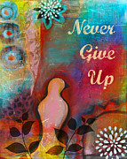 Yoga Mixed Media - Never Give Up by Tara Catalano