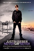 Justin Bieber Drawing Posters - Never Say Never 1 Poster by Movie Poster Prints