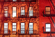 New York City Fire Escapes Photos - Never Sleep - NYC At Night by Mark E Tisdale