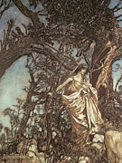 Fantasy Tree Posters - Never so weary never so woeful illustration to A Midsummer Night s Dream Poster by Arthur Rackham