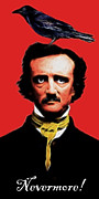 Humour Digital Art Prints - Nevermore - Edgar Allan Poe - Electric Print by Wingsdomain Art and Photography