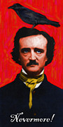 Edgar Allen Poe Metal Prints - Nevermore - Edgar Allan Poe - Painterly Metal Print by Wingsdomain Art and Photography