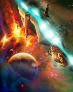 Starship Painting Prints - Nevtar Stardrive Print by James Christopher Hill