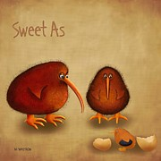 Kiwi Digital Art Prints - New arrival. Kiwi bird - Sweet as - boy Print by Marlene Watson