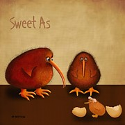Marlene Watson Metal Prints - New arrival. Kiwi bird...Sweet as -girl Metal Print by Marlene Watson