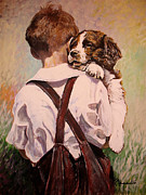 Spaniels Paintings - New Best Friend by Kevin Meredith