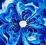 Abstract Dance Painting Originals - New Blue Glory Flower Art - buy Prints by Sharon Cummings