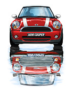 Mini Art Framed Prints - New BMW Mini Cooper Red Framed Print by David Kyte