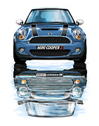 Automotive Art Posters - New BMW Mini Cooper S Blue Poster by David Kyte
